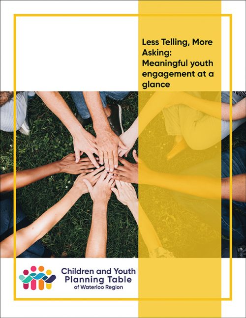 title page for less telling more asking meaningful youth engagement at a glance