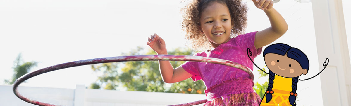 Photo of a young girl hula hooping with a cartoon of a girl playing layered on top