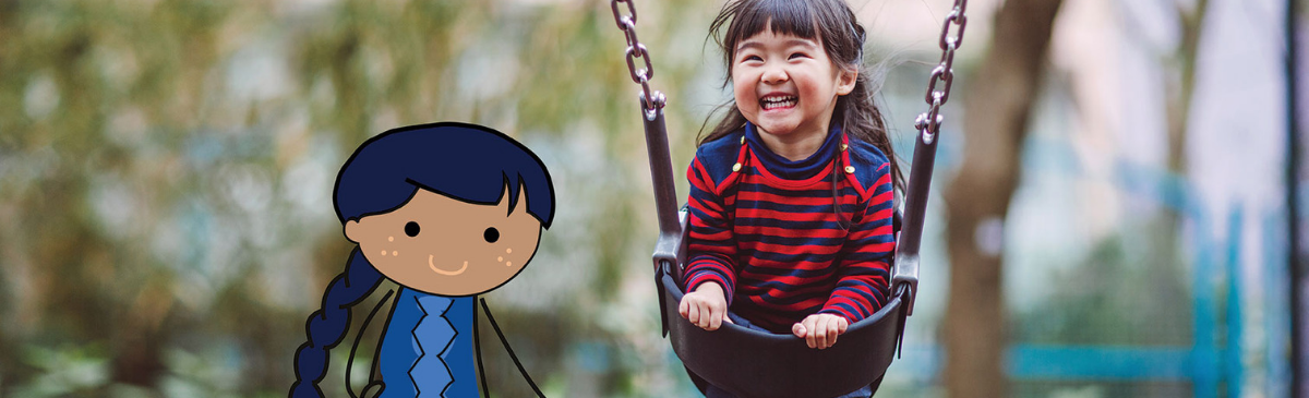 photo of a little girl in a swing with a cartoon image of a child layered on top