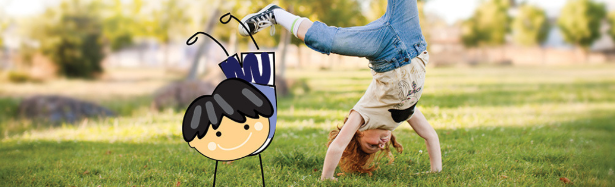 photo of boy doing a cartwheel with a cartoon of a child doing a cartwheel layered on top