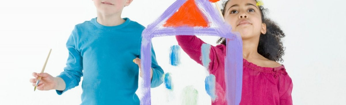 two kids painting an image of a house