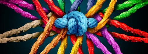 colourful ropes tied together