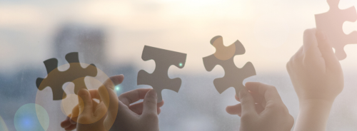 hands holding up puzzle pieces