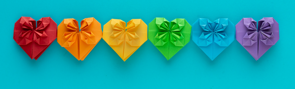 origami hearts in rainbow colours